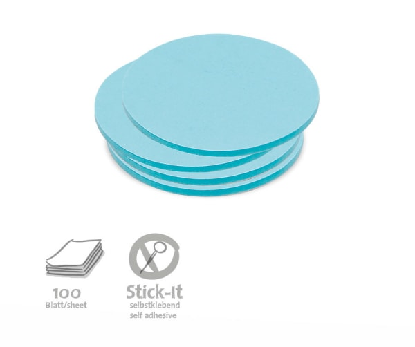 Stick-It Cards, small circular, 100 sheets, single colors